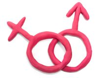 Male and female signs. Made with plasticine idolsted on white stock photo