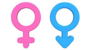Male and female signs rotate Stock Photo