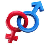 Male and female signs  on white. Mars and Venus. Royalty Free Stock Images