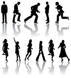 Male and female silhouettes. A set of silhouettes of men and women in business attire Royalty Free Stock Images