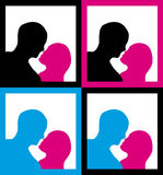 Male and female silhouettes kissing Stock Photo