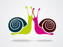 Male and female snails  on white. Background. Vector illustration Royalty Free Stock Photography