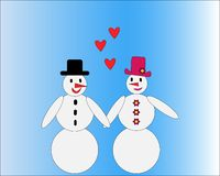 Loving snowman couple with hearts stock illustration
