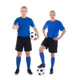 Male and female soccer players with a balls on white background. Male and female soccer players with a balls isolated on white background Royalty Free Stock Photo