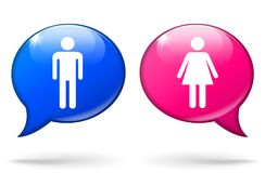Male and female speech bubbles Stock Photography
