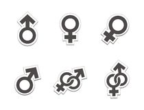 Male female sticker - black colour Royalty Free Stock Image