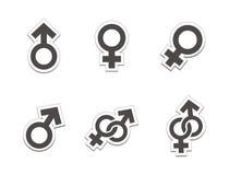 Male female sticker - black colour stock illustration