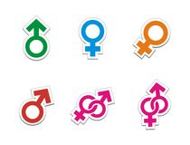 Male female sticker sets stock illustration