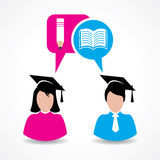 Male and female students thinking about education concept Royalty Free Stock Images