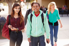 Male And Female Students Walking To High School Royalty Free Stock Image