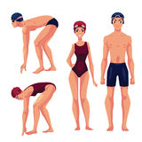 Male and female swimmers, standing upright and preparing to dive. Set of swimmer, male and female, standing upright and preparing to dive, cartoon vector Stock Photography