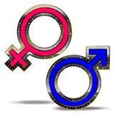 Male and female symbol. Luxury male female sign, decorated with diamonds Royalty Free Stock Image