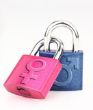 Male and female symbol. On the padlock royalty free stock images