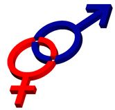 Male - female symbol. Intersect in 3D graphic Stock Photos