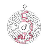 Male Female symbol and Circle Labyrinth maze. Find the way in the heart. Find your love. Happy Valentine\'s day card. Vector. Male Female symbol and Circle stock illustration