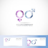 Male female symbol 3d logo. Vector logo template of male female symbol 3d logo sexuality with business card Royalty Free Stock Images