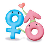 Male female symbol. Male and female symbol. illustration vector Royalty Free Stock Photography