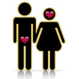 Male-female symbol of love Stock Photos