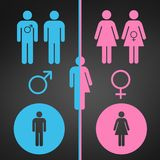 Male and female symbol set. Gender concept. Usable for reports, presentations, web, apps, ui. Vector illustration isolated on blac royalty free illustration