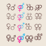 Male and female symbol set . Vector Royalty Free Stock Photography