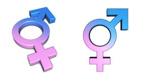 Male/Female Symbol on White. Blue male/pink female symbol isolated with slight shadow on white from angle and front Royalty Free Stock Photography