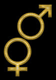 Male and female symbols. In black background eps Stock Image