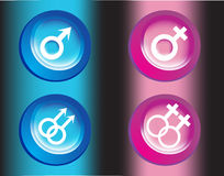 Male and female symbols Stock Photos