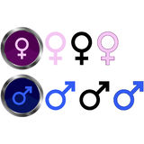 Male and Female Symbols. Set of male and female symbols/icons Stock Photography