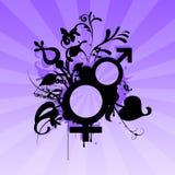 Male female symbols. Male female symbol retro with sunburst Royalty Free Stock Image