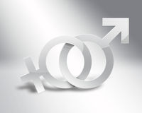 Male and female symbols. On a light background Royalty Free Stock Images