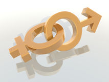 Male and female symbols. A 3d rendering of male and female symbols Royalty Free Stock Images