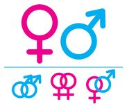 Male and  female symbols. Vector illustration. Combinations Royalty Free Stock Images