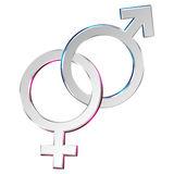 Male & Female symbols. Male and Female symbols isolated on white. Vector Royalty Free Stock Images