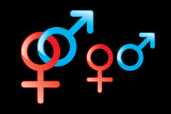 Male and Female Symbols. Male and female gender symbols on black background Royalty Free Illustration