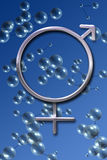 Male and Female Symbols. On a background of rendered cell representations Royalty Free Stock Photos