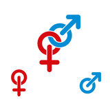 Male and female symbols. Male and female symbols combination vector icon isolated Stock Photography