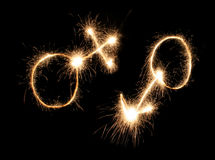 Male and female symbols drawn sparkler Stock Image