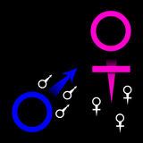 Male and Female Symbols. Are featured in an abstract background illustration with space for text Stock Photo