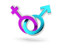 Male and female symbols. Gender symbols. Male and female signs isolated on white Stock Images