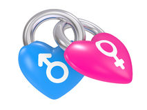 Male And Female Symbols on a heart lock Stock Image