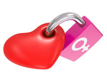Male And Female Symbols on a heart lock Stock Images
