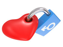 Male And Female Symbols on a heart lock Royalty Free Stock Photography