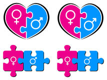 Male and female symbols. Heart puzzle with male and female symbols Stock Photo