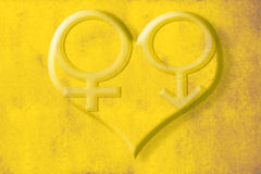 Male female symbols hearts background Stock Photography