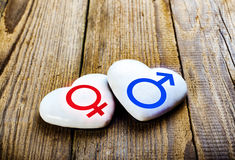 Male And Female Symbols On Hearts. Sing Venus And Mars. Royalty Free Stock Photography