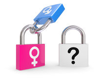 Male And Female Symbols on a lock Stock Photos