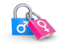 Male And Female Symbols on a lock Royalty Free Stock Images
