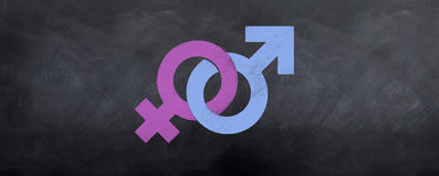 Male and Female Symbols Meet Royalty Free Stock Photography