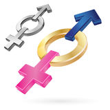 Male and Female Symbols in one shape Stock Photography