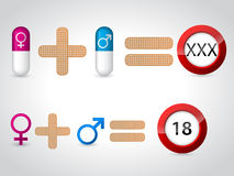 Male female symbols and pills for sex Stock Photography